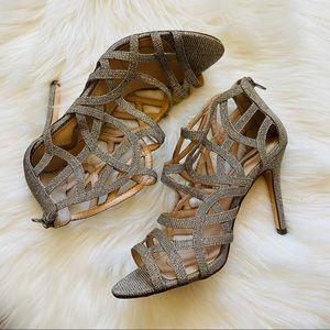 NINA Metallic Sparkle Ankle Bootie Sandal Heels 7